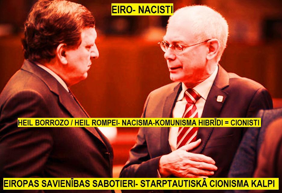 Hermans van Rompejs (no labās) un Eiropas Komisijas priekšsēdētājs Žozē Manuels Barrozu.